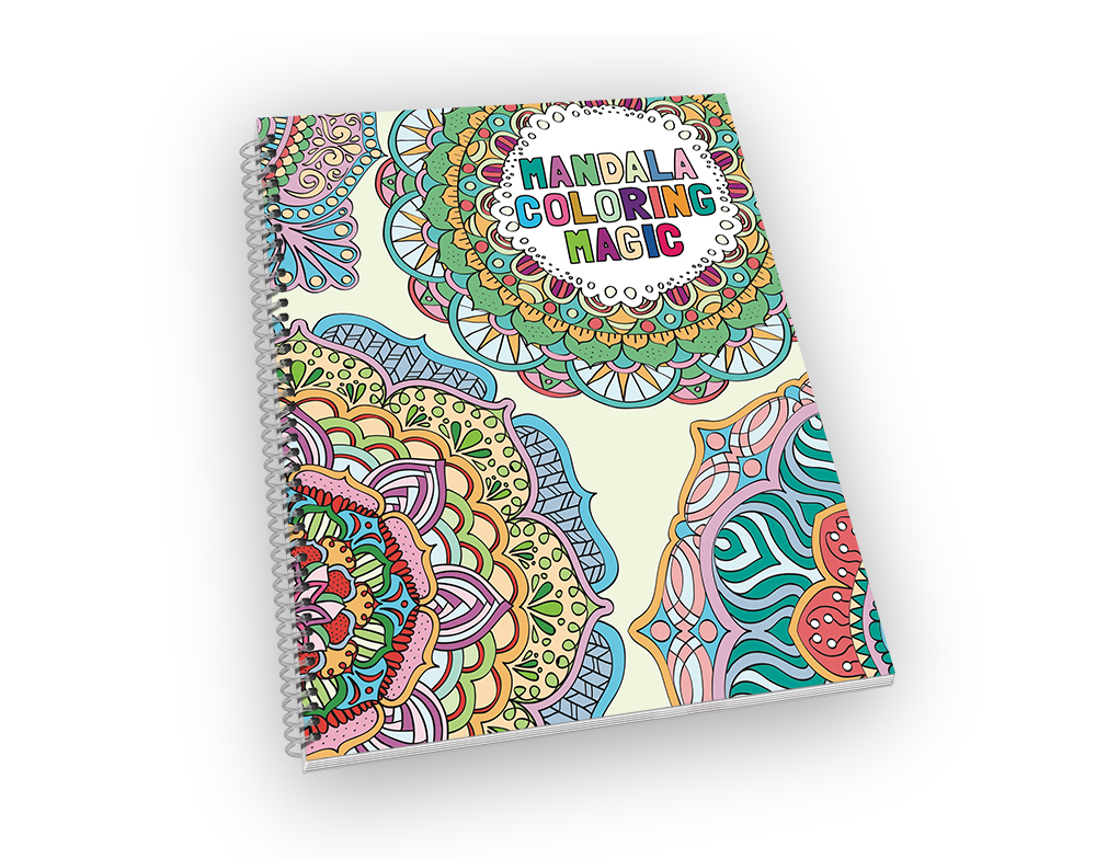 Spiral-bound coloring book with a mandala cover.