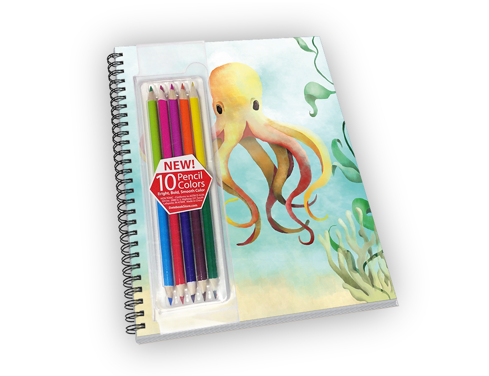 Mid-sized spiral-bound notebook with an octopus cover and colored pencils.