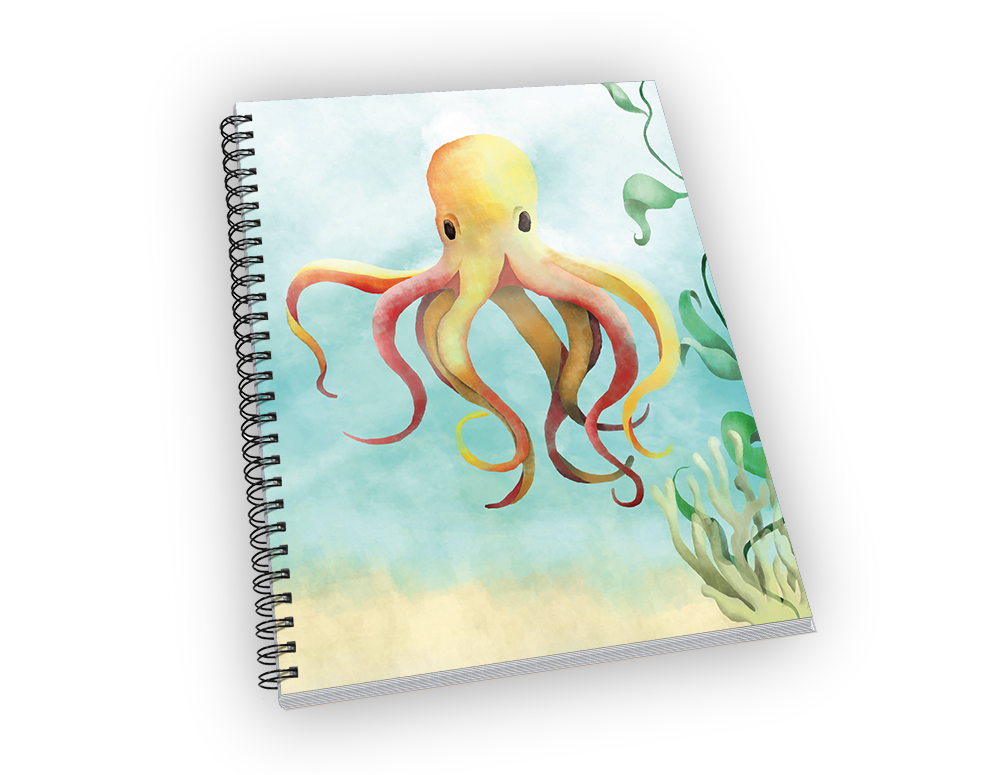 Mid-sized spiral-bound notebook with an octopus cover.