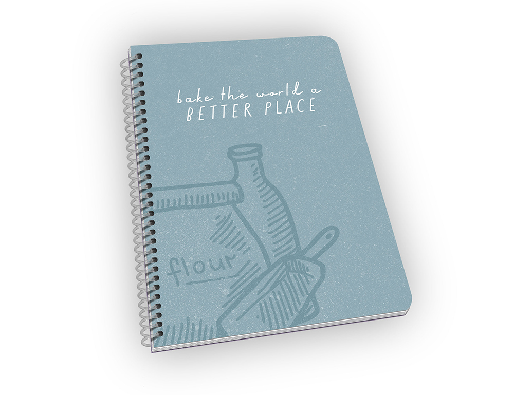 Spiral-bound notebook with baking pun on cover.