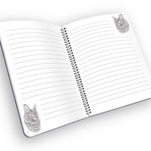 Open spiral-bound notebook with lined pages and a cat.