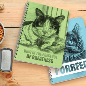 Scene of spiral-bound notebooks with a cat and quote covers.