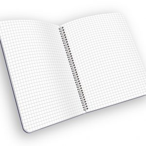 Open spiral-bound notebook with grid pages.