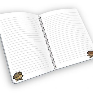 Open spiral-bound notebook with lined pages and a hedgehog cartoon.