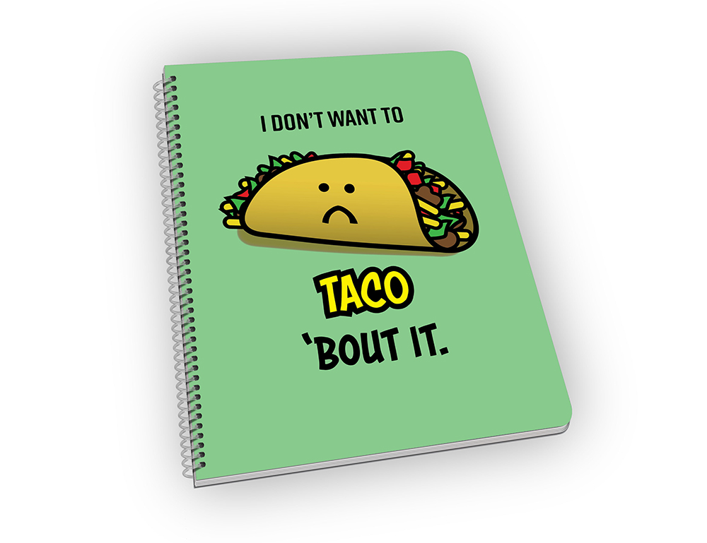 Spiral-bound notebook with a taco carton on the cover.