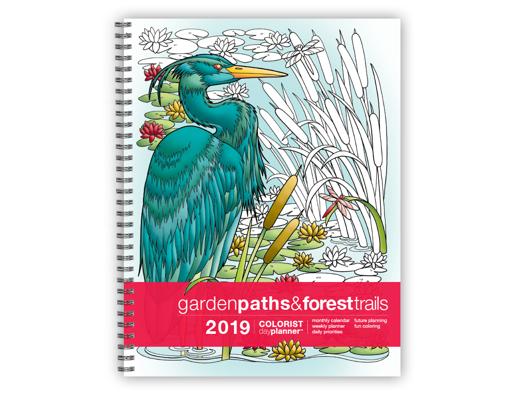 2019 Colorist Day Planner Garden Paths & Forest Trails (8.5 x 11 inches)